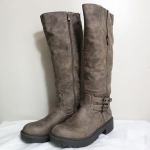 Chelsea & Zoe Distressed Brown Tall Boots